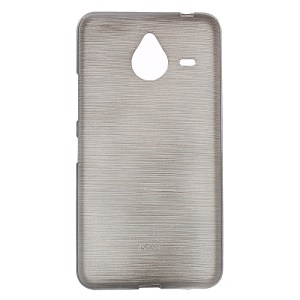 Glossy Outer Brushed Inner TPU Gel Case for Microsoft Lumia 640 XL / Dual SIM - Grey