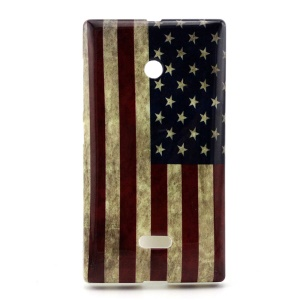 For Microsoft Lumia 435 Case, Vintage USA Flag TPU Cover for for Microsoft Lumia 435 / 435 Dual Sim