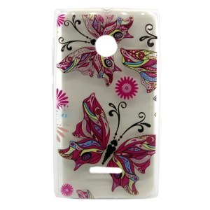 Embossing TPU Gel Shell for Microsoft Lumia 435 / 435 Dual - Beautiful Butterfly