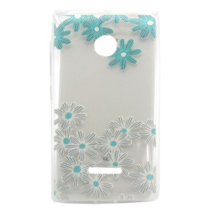 Embossing TPU Gel Cover for Microsoft Lumia 435 / 435 Dual - Blue Flower
