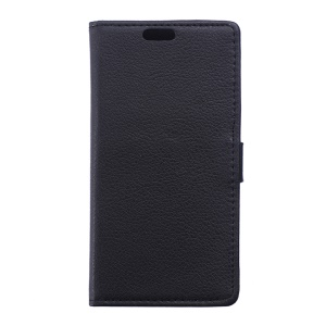 Litchi Skin Leather Wallet Phone Case for Vodafone Smart prime 6 VF-895N - Black