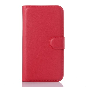 Litchi Skin Wallet Leather Phone Case for Vodafone Smart prime 6 VF-895N - Red