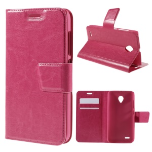 Crazy Horse PU Leather Shell for Vodafone Smart prime 6 VF-895N with Card Holder - Rose