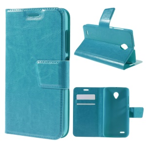 Crazy Horse Leather Case Cover for Vodafone Smart prime 6 VF-895N with Card Slots - Blue
