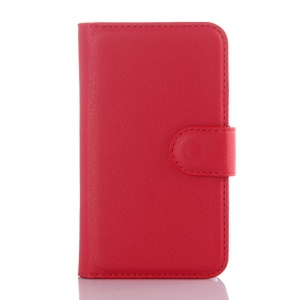 Litchi Skin PU Leather Wallet Cover for Vodafone Smart first 6 - Red