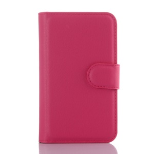 Litchi Skin PU Leather Wallet Case for Vodafone Smart first 6 - Rose