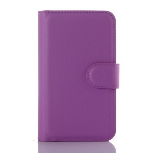 Litchi Skin PU Leather Wallet Cover Case for Vodafone Smart first 6 - Purple