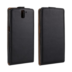 Magnetic Vertical Flip Genuine Split Leather Case for Oneplus One A0001 - Black