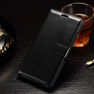 For OnePlus 2 Wallet Leather Case Stand Crazy Horse Texture - Black