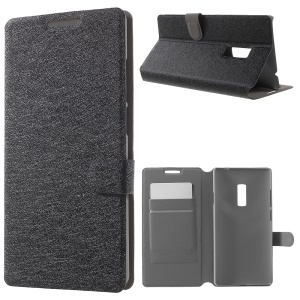 Silk Texture Flip Stand Leather Case for OnePlus 2 with Card Holder - Black