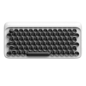 Typewriter Design Built-in Backlit Round Keys Bluetooth Wireless Mechanical Keyboard for iPad 9.7 (2017) etc. - White