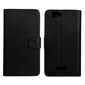 Folio Leather Stand Case w/ Card Slots for Wiko Rainbow - Black