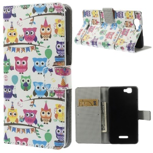 Owls Carnival Stand Leather Folio Cover w/ Wallet for Wiko Rainbow