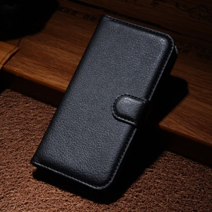 For Wiko Darkmoon Litchi Texture PU Leather Wallet Stand Case - Black