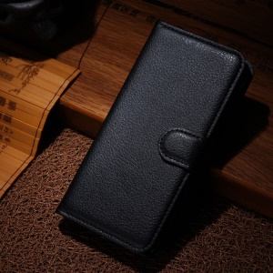 Litchi Texture Stand Leather Wallet Case for Wiko Wax - Black