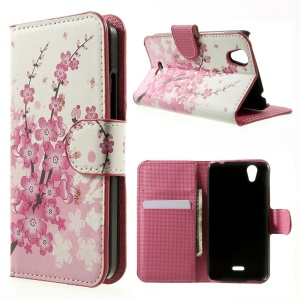 Plum Blossom Flip Leather Wallet Cover for Wiko Birdy