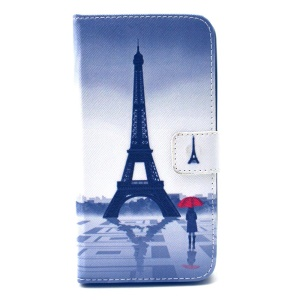Eiffel Tower and Beauty Leather Case for Wiko Lenny with Card Slots