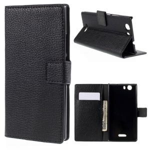 Folio Flip Leather Case for Wiko Ridge 4G with Card Holder and Cash Pocket - Black