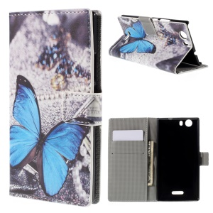 For Wiko Ridge 4G Leather Flip Stand Cover - Blue Butterfly