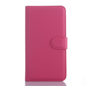 Litchi Grain Wallet Leather Cover for Wiko Rainbow 4G with Stand - Rose