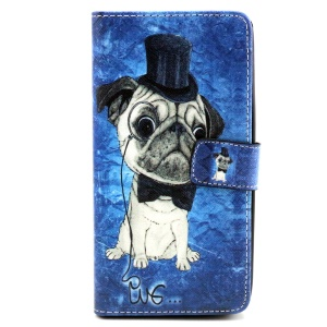 Wallet Leather Stand Case for Wiko Rainbow - Pug Wearing Top Hat and Bowtie