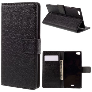 Litchi Grain Stand Wallet Leather Cover for Wiko Highway Pure 4G - Black