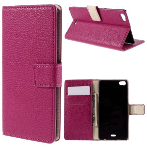 Litchi Grain Stand Wallet Leather Case for Wiko Highway Pure 4G - Rose