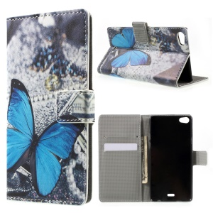 Blue Butterfly Magnetic Leatherette Flip Cover for Wiko Highway Pure 4G