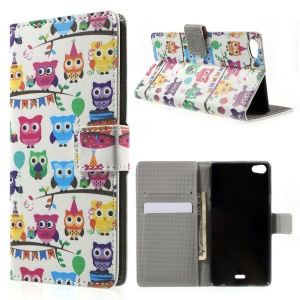 Cute Little Owls Wallet Leather Flip Cover for Wiko Highway Pure 4G