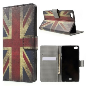 Retro UK Flag PU Leather Case with Stand for Wiko Highway Pure 4G