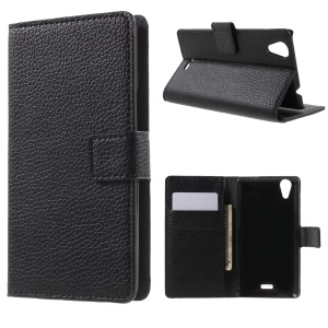 Lychee Texture Stand Wallet Leather Case for Wiko Rainbow Lite - Black