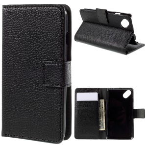 Litchi Skin Wallet Leather Stand Case for Wiko Sunset2 - Black