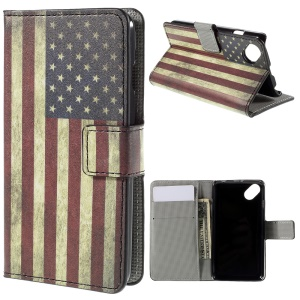 Wallet Leather Stand Case for Wiko Sunset2 - Retro American Flag