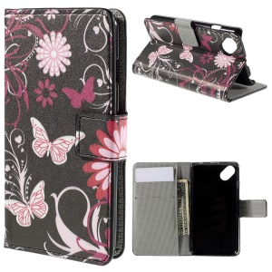 Wallet Leather Stand Cover Case for Wiko Sunset2 - Butterfly Flowers