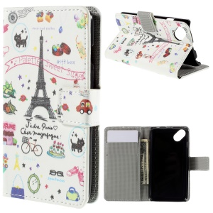 PU Leather Card Holder Case for Wiko Sunset2 - Eiffel Tower and Fruits