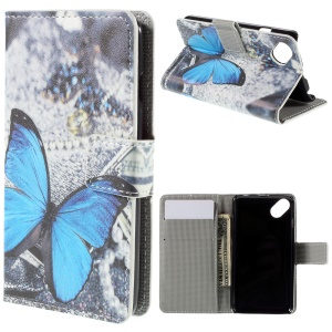 Leather Protective Case for Wiko Sunset2 - Blue Butterfly
