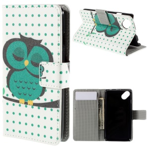 Wallet Leather Stand Cover for Wiko Sunset2 - Sleeping Owl on the Branch