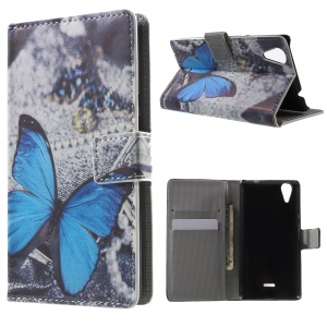 Wallet Leather Case for Wiko Raibbow Lite with Stand - Blue Butterfly