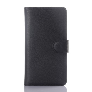Lychee Skin Leather Wallet Case for Wiko Rainbow Up - Black
