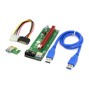 PCI-E 1x to 16x Mining Machine Enhanced Extender Riser Adapter with USB 3.0 Cable and SATA Power Cable