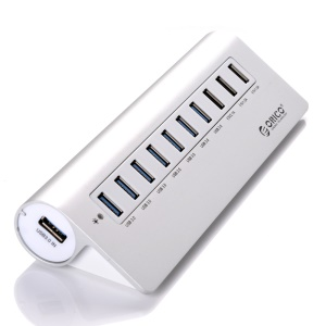 ORICO Aluminum Alloy USB3.0 7-Port + 3-Charging-Port USB HUB with Cable (M3H73P) - Silver