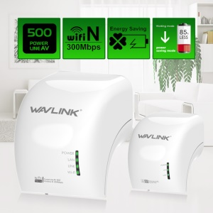 WAVLINK WL-NWP501WM AV500 WiFi Power Line Ethernet Extender Kit 300Mbps - White / EU Plug