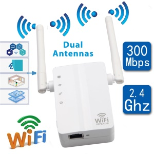 Wireless USB Adapter 300Mbps Long WiFi Range Network Card Receiver 5dBi Antenna - US Plug