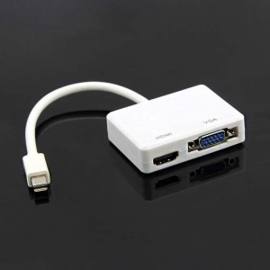 2-in-1 Mini DisplayPort DP Thunderbolt to VGA + HDMI Adapter - White