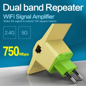 VONETS VRP5G 5G/2.4G 750Mbps Dual Band WiFi Repeater 100m Extension - EU Plug