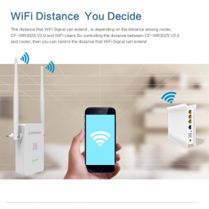 COMFAST CF-WR302S V2 Dual Band WiFi Repeater 300Mbps WiFi Router Wireless N-WiFi Repeater 2.4GHz - EU Plug