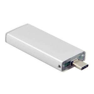USB 3.1 Type-C to 42mm NGFF M2 2 Lane SSD External PCBA Converter Adapter with Case - White