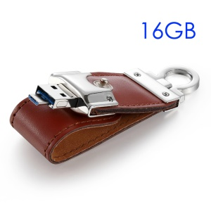 WEITASI 16G 2-in-1 OTG USB Leather Flash Drive Micro-USB Memory Stick Waterproof U Disk UDP Chip for Android Phones Tablets