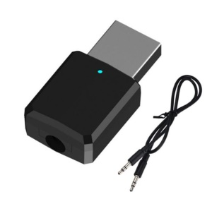 Adaptador Audio / Transmissor Sem Fio Do Bluetooth Do Bluetooth 5.0 Do Receptor Com O Cabo Auxiliar De 3.5mm - Preto