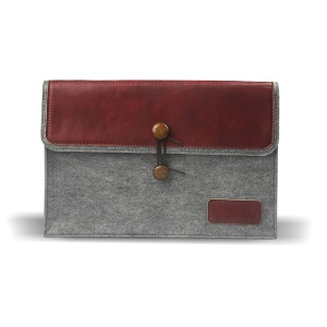 J.M.SHOW Envelope Leather + Wool Felt Sleeve Bag for MacBook 12-inch with Retina Display(2015), Size: 31x21cm - Red